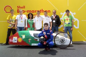Team blue-ev from Professional High School Of Agriculture And Forestry N.Vaptsarov, Chepelare, Bulgaria, pose for a team portrait at Make the Future 2016 on Friday, July 1, 2016 in London, UK. (Shell)